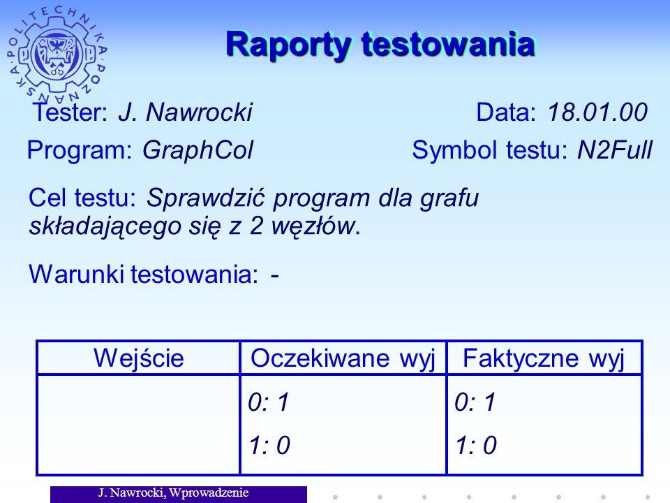 Raporty testowania Tester: J. Nawrocki Data: 18.01.00