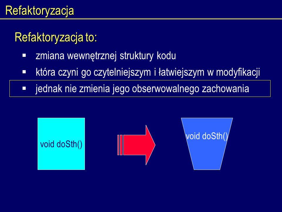 Refaktoryzacja Refaktoryzacja to: zmiana wewnętrznej struktury kodu