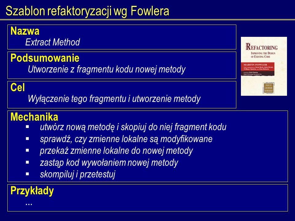 Szablon refaktoryzacji wg Fowlera
