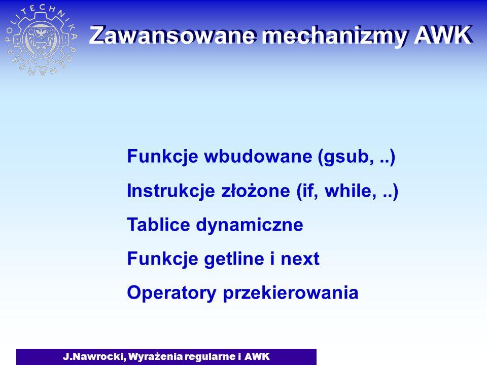 Zawansowane mechanizmy AWK
