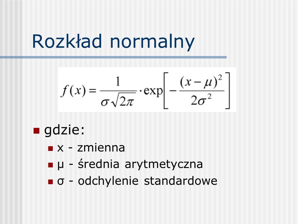 Rozkład normalny gdzie: x - zmienna µ - średnia arytmetyczna