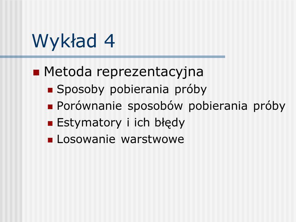 Wykład 4 Metoda reprezentacyjna Sposoby pobierania próby