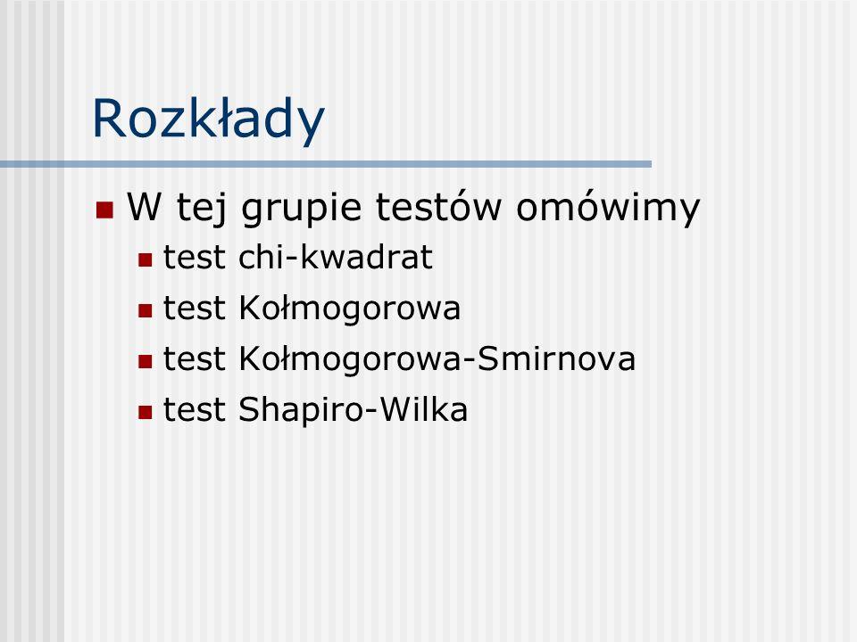 Rozkłady W tej grupie testów omówimy test chi-kwadrat test Kołmogorowa