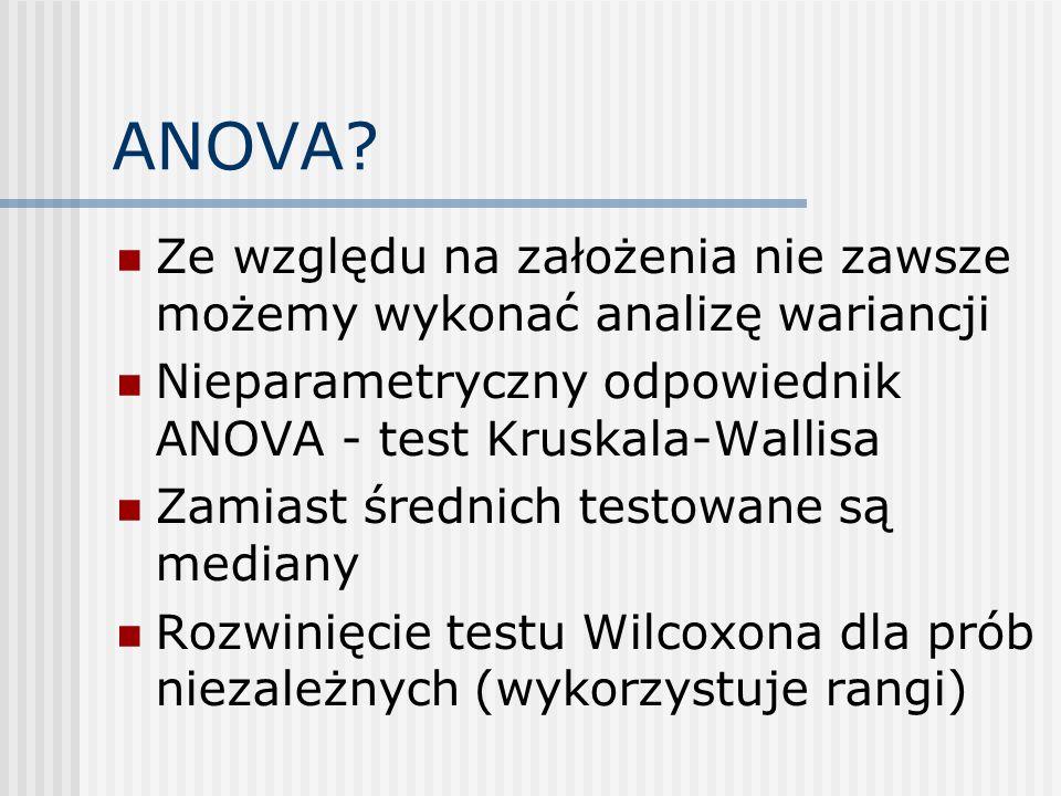 ANOVA Ze względu na założenia nie zawsze możemy wykonać analizę wariancji. Nieparametryczny odpowiednik ANOVA - test Kruskala-Wallisa.