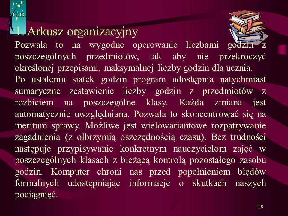 G. G.1. Arkusz organizacyjny.