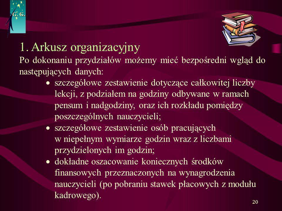 G. G. 1. Arkusz organizacyjny. Po dokonaniu przydziałów możemy mieć bezpośredni wgląd do następujących danych: