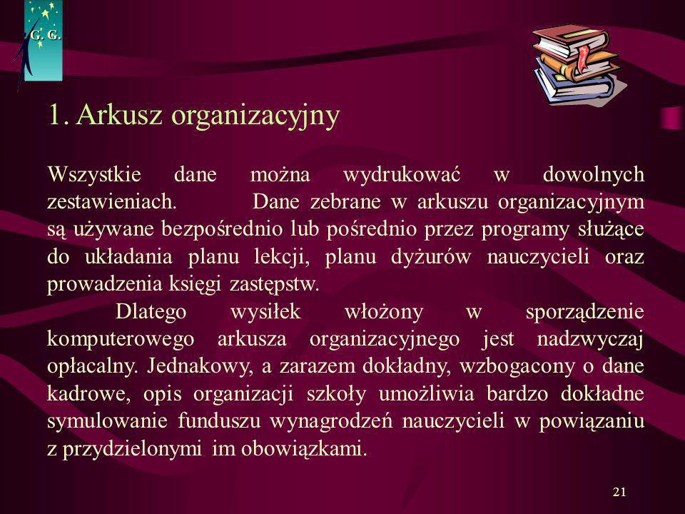 G. G. 1. Arkusz organizacyjny.
