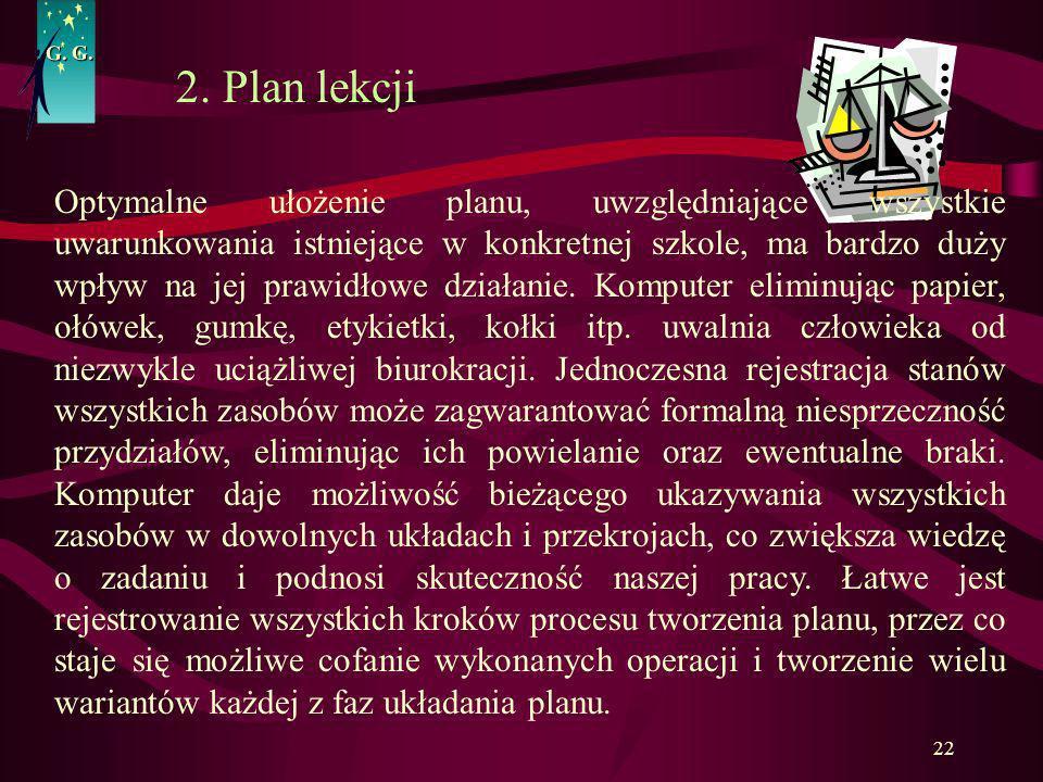 G. G. 2. Plan lekcji.