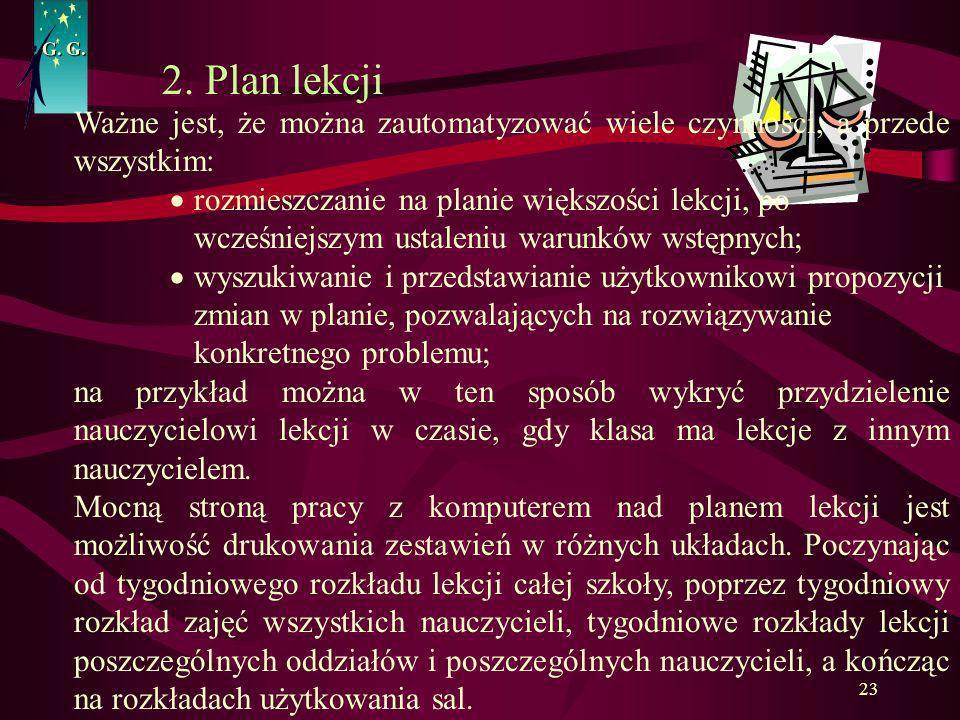G. G. 2. Plan lekcji. Ważne jest, że można zautomatyzować wiele czynności, a przede wszystkim: