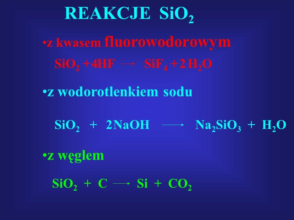 REAKCJE SiO2 z wodorotlenkiem sodu z węglem z kwasem fluorowodorowym