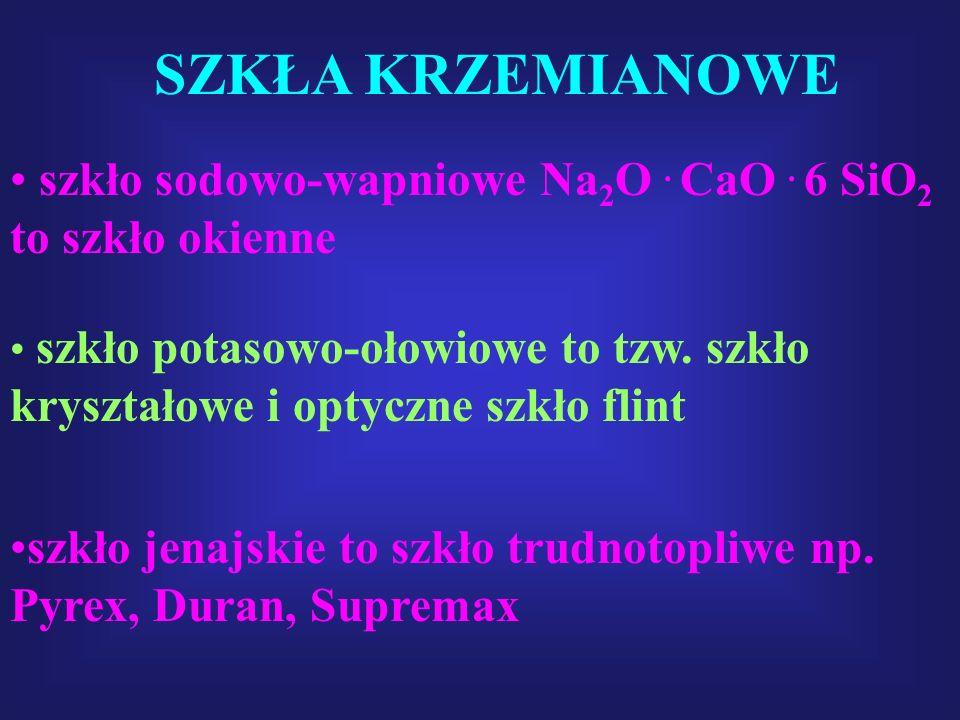 SZKŁA KRZEMIANOWE szkło sodowo-wapniowe Na2O . CaO . 6 SiO2 to szkło okienne.