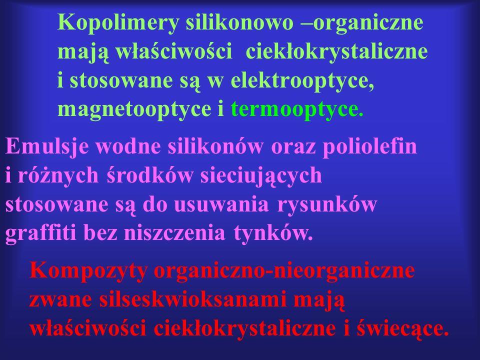 Kopolimery silikonowo –organiczne mają właściwości ciekłokrystaliczne i stosowane są w elektrooptyce, magnetooptyce i termooptyce.