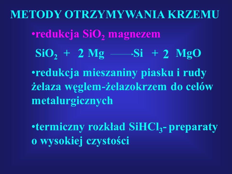 2 2 METODY OTRZYMYWANIA KRZEMU redukcja SiO2 magnezem