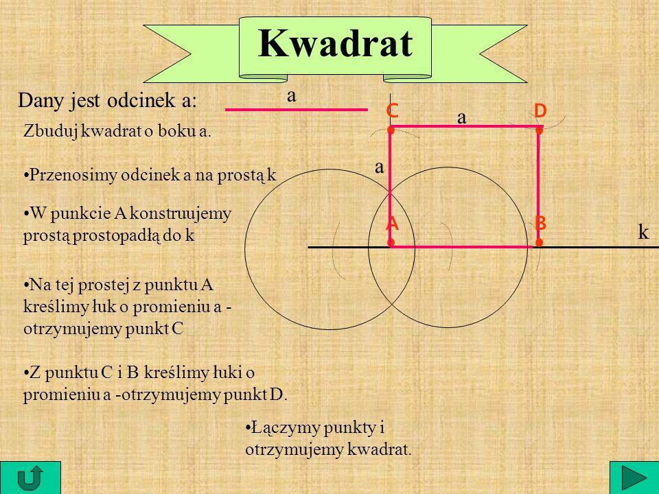 Kwadrat a Dany jest odcinek a: C D a a A B k Zbuduj kwadrat o boku a.