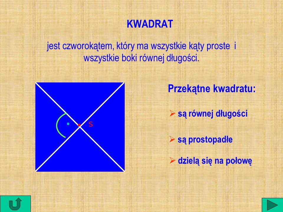 KWADRAT Przekątne kwadratu: