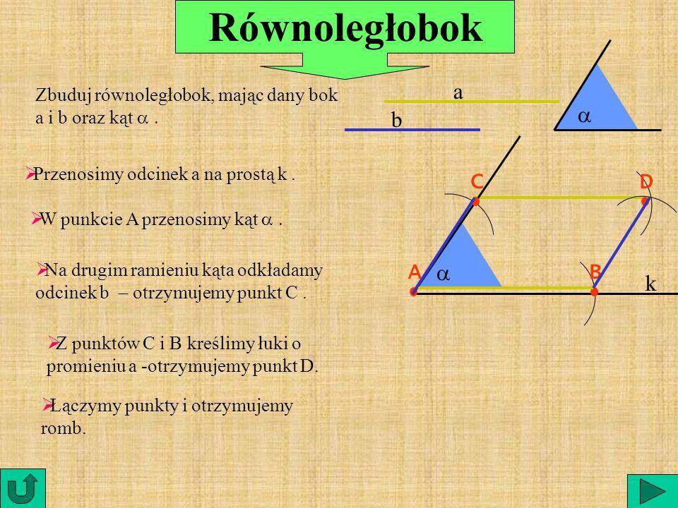 Równoległobok a a b C D A a B k