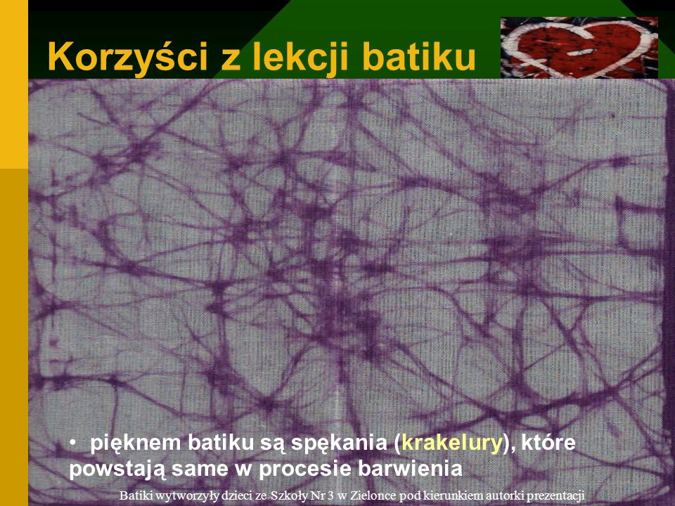 Korzyści z lekcji batiku