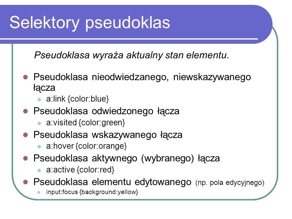 Selektory pseudoklas Pseudoklasa wyraża aktualny stan elementu.