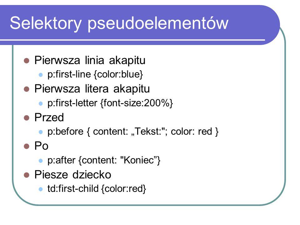 Selektory pseudoelementów