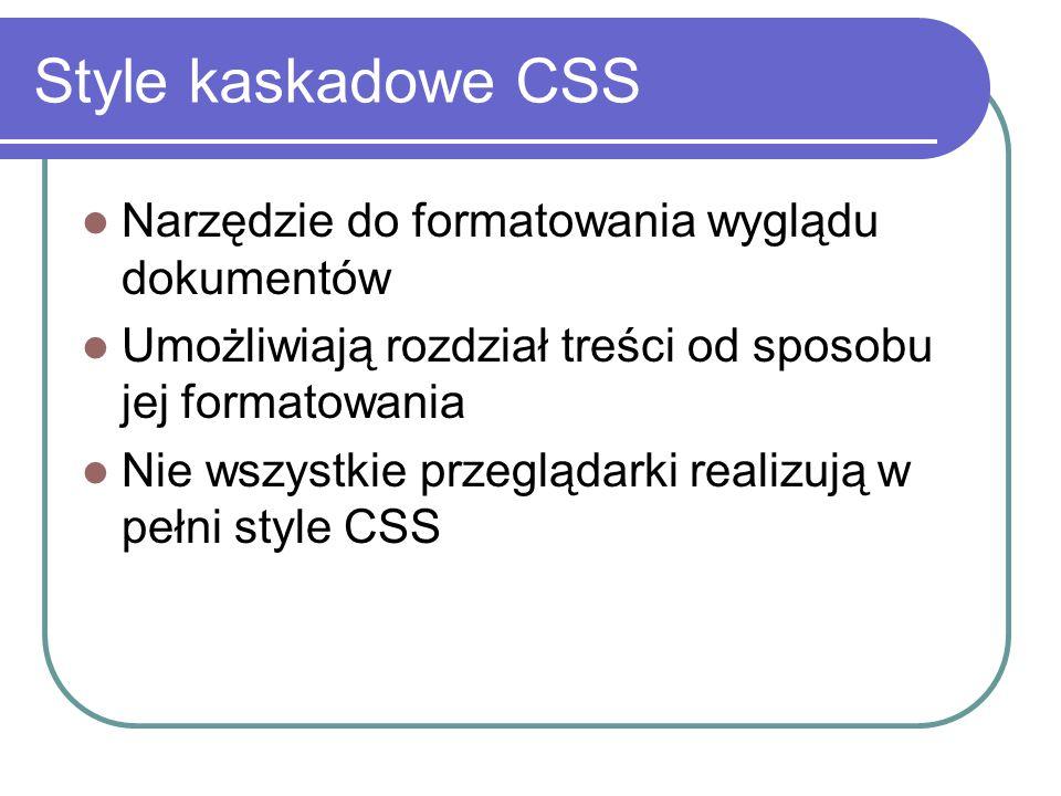 Style kaskadowe CSS Narzędzie do formatowania wyglądu dokumentów