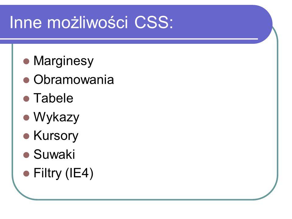 Inne możliwości CSS: Marginesy Obramowania Tabele Wykazy Kursory