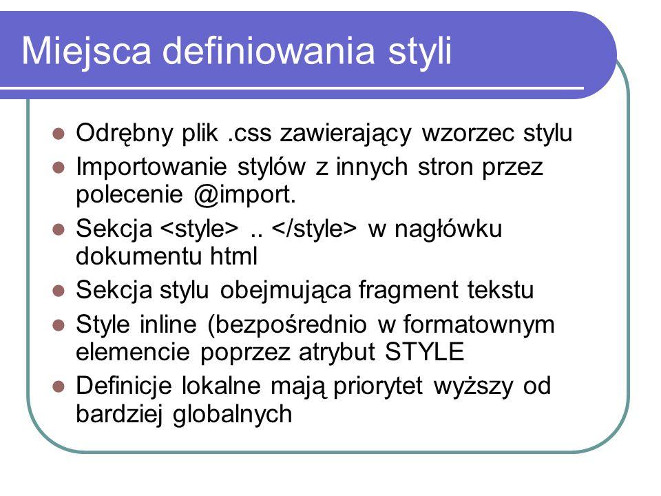 Miejsca definiowania styli