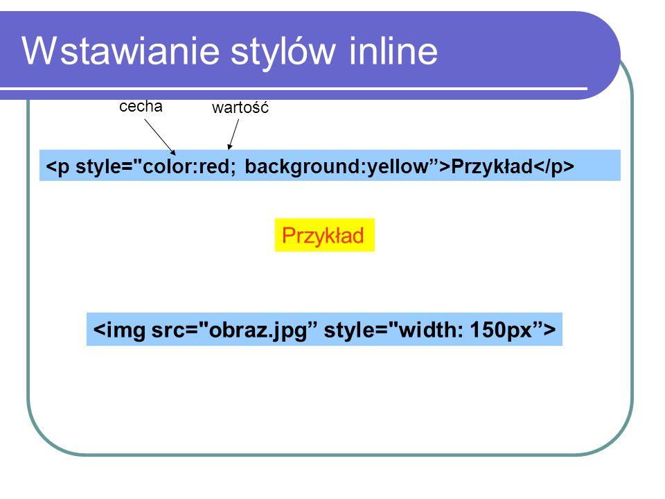 Wstawianie stylów inline