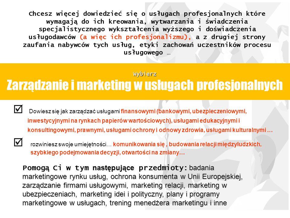 Wybierz Zarządzanie i marketing w usługach profesjonalnych