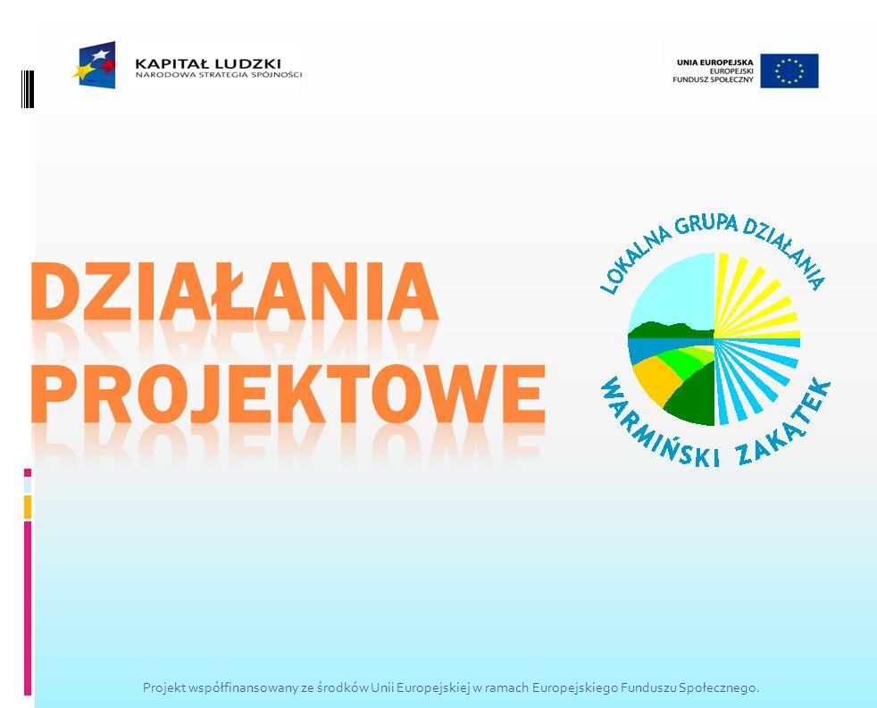 DZIAŁANIA PROJEKTOWE Projekt współfinansowany ze środków Unii Europejskiej w ramach Europejskiego Funduszu Społecznego.