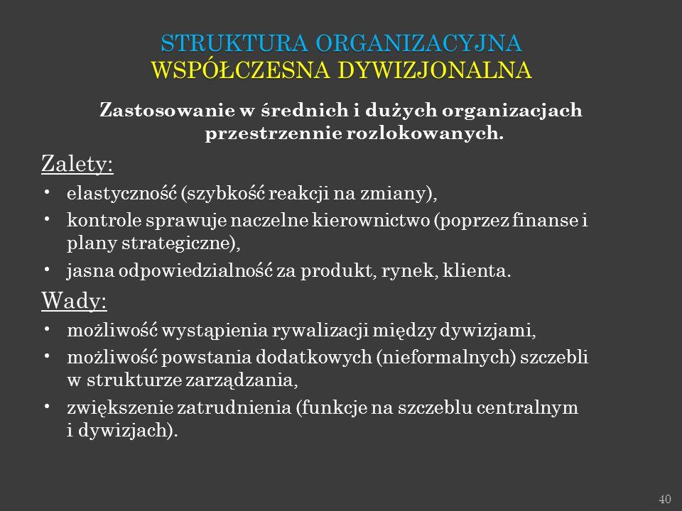 Struktura Organizacyjna Współczesna dywizjonalna