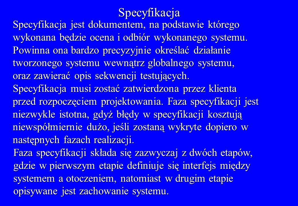 Specyfikacja Specyfikacja jest dokumentem, na podstawie którego