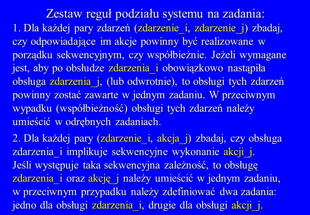 Zestaw reguł podziału systemu na zadania: