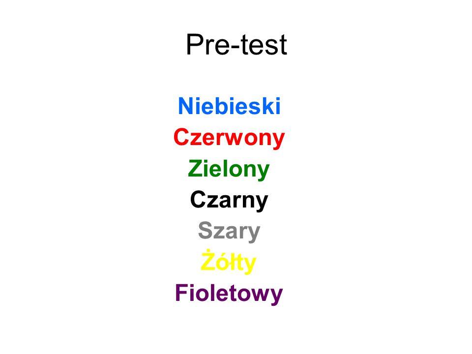 Pre-test Niebieski Czerwony Zielony Czarny Szary Żółty Fioletowy