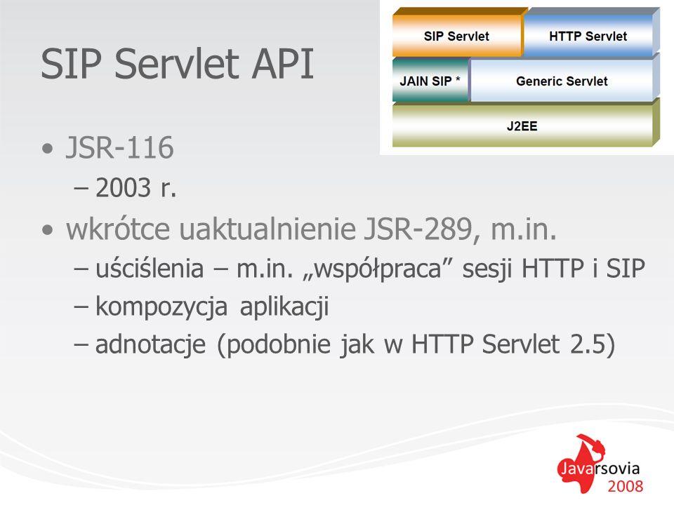 SIP Servlet API JSR-116 wkrótce uaktualnienie JSR-289, m.in. 2003 r.