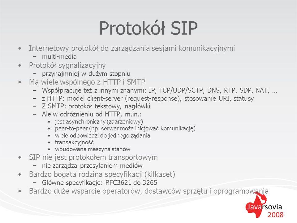 Protokół SIP Internetowy protokół do zarządzania sesjami komunikacyjnymi. multi-media. Protokół sygnalizacyjny.