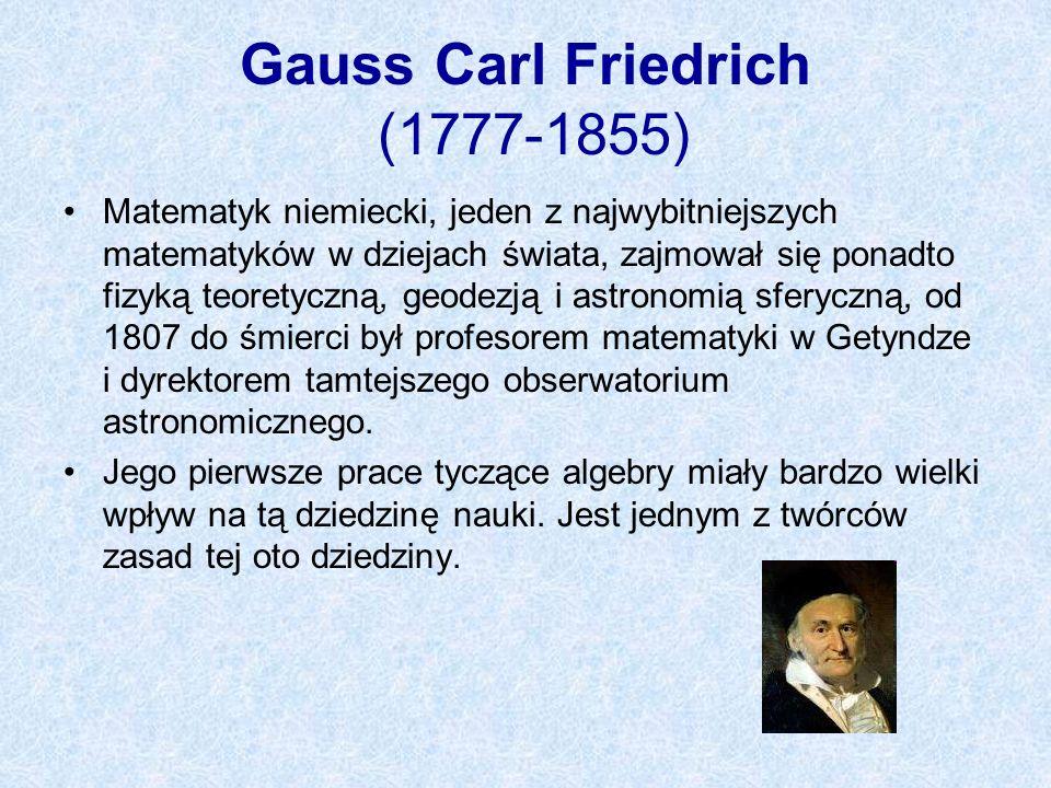 Gauss Carl Friedrich (1777-1855)