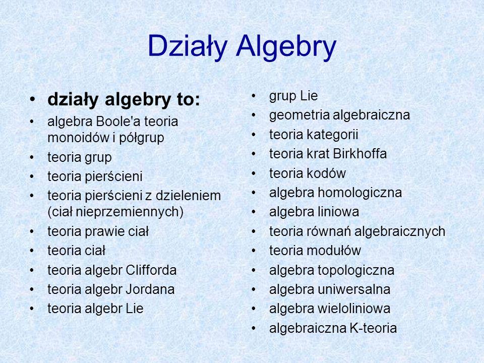 Działy Algebry działy algebry to: