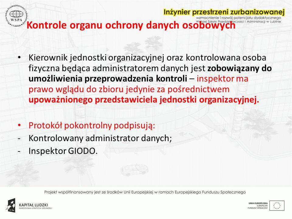 Kontrole organu ochrony danych osobowych