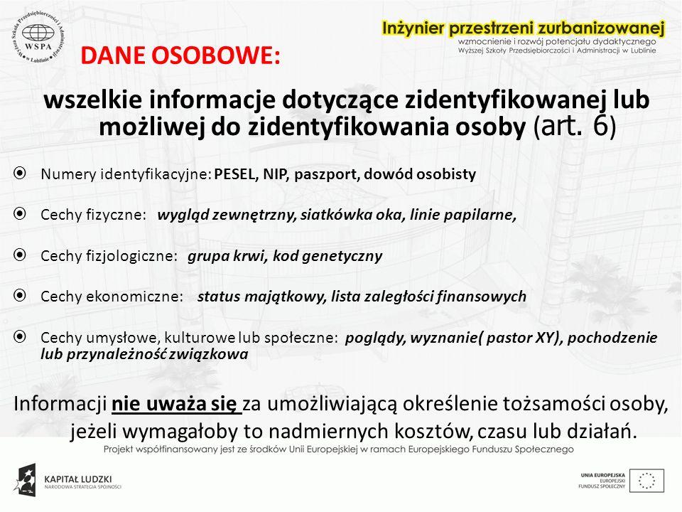 DANE OSOBOWE: wszelkie informacje dotyczące zidentyfikowanej lub możliwej do zidentyfikowania osoby (art. 6)