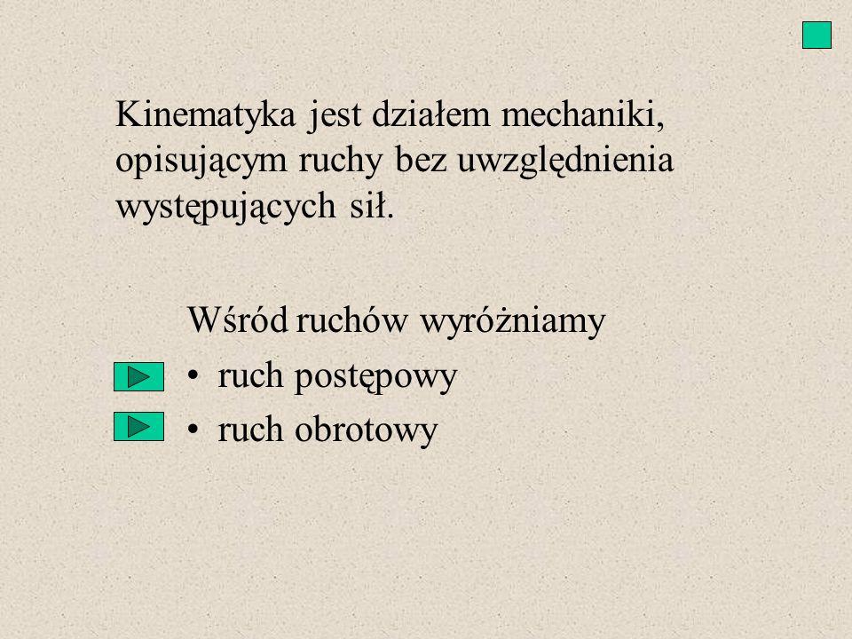 Kinematyka jest działem mechaniki, opisującym ruchy bez uwzględnienia występujących sił.