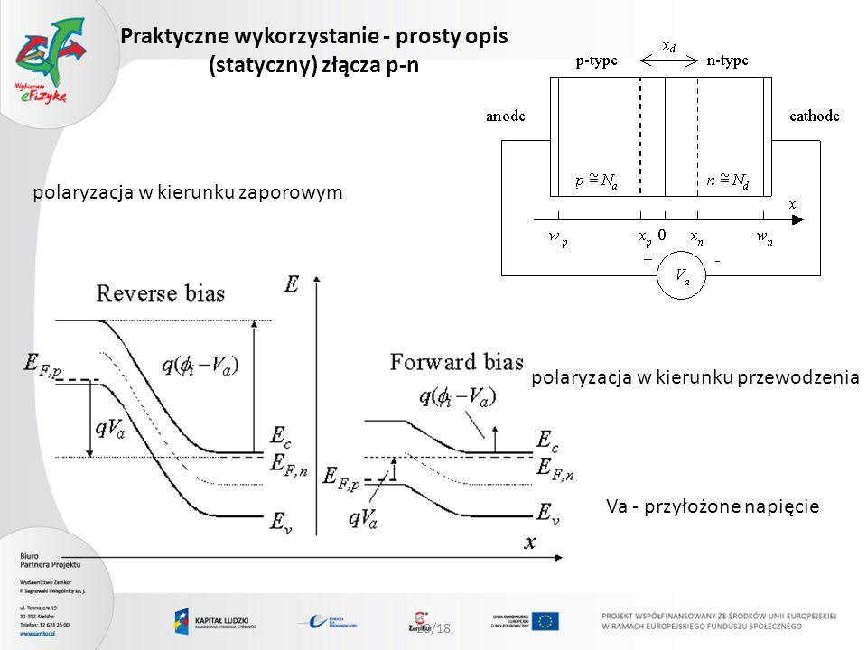 Praktyczne wykorzystanie - prosty opis (statyczny) złącza p-n