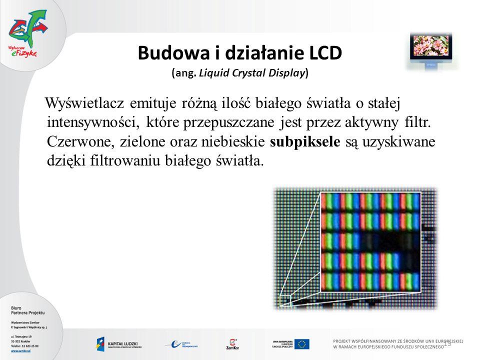 Budowa i działanie LCD (ang. Liquid Crystal Display)