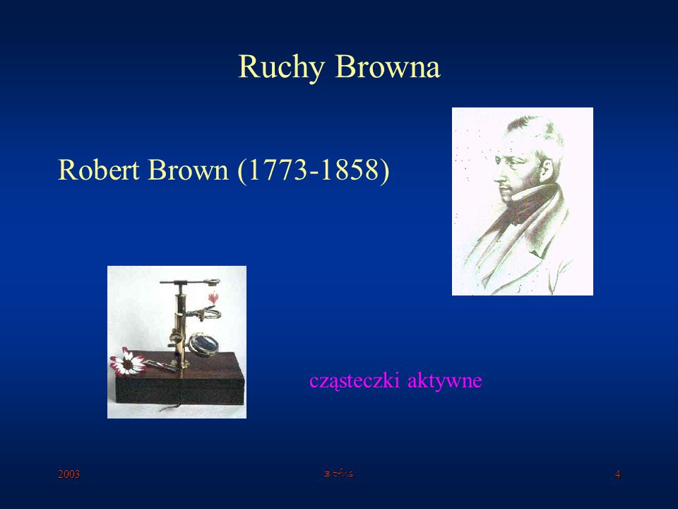 Ruchy Browna Robert Brown (1773-1858) cząsteczki aktywne