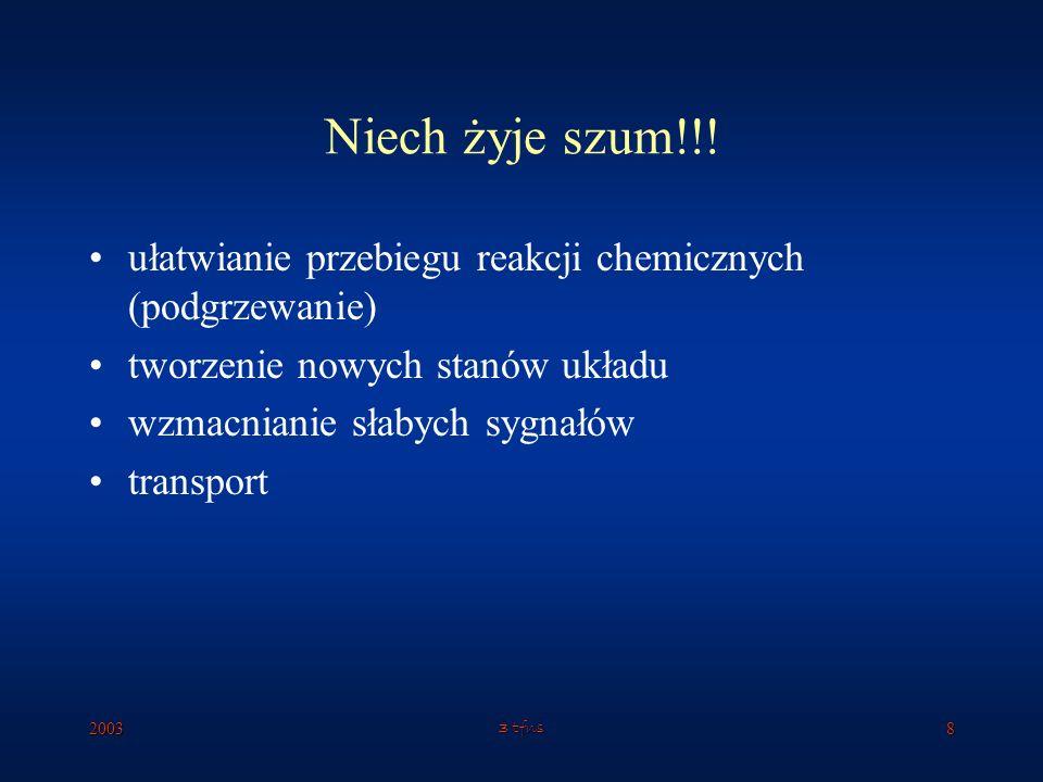 Niech żyje szum!!! ułatwianie przebiegu reakcji chemicznych (podgrzewanie) tworzenie nowych stanów układu.