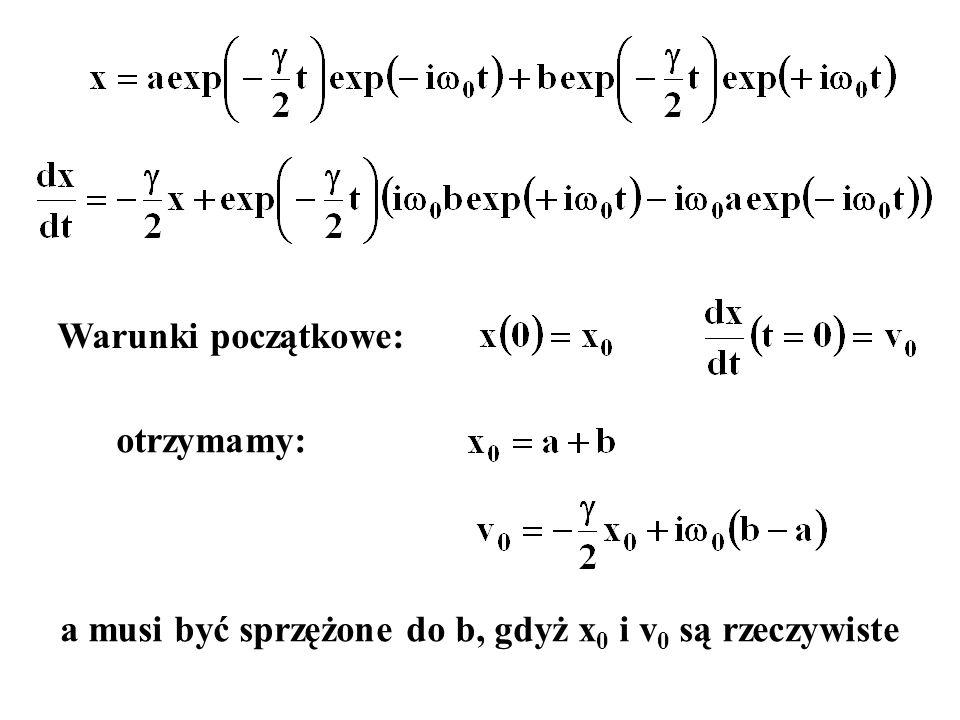 a musi być sprzężone do b, gdyż x0 i v0 są rzeczywiste
