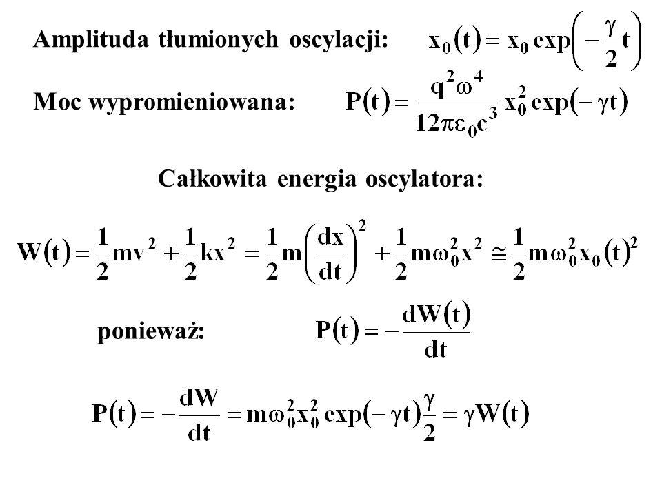 Amplituda tłumionych oscylacji: Całkowita energia oscylatora: