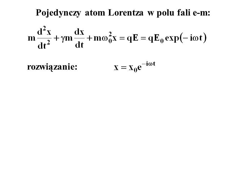 Pojedynczy atom Lorentza w polu fali e-m: