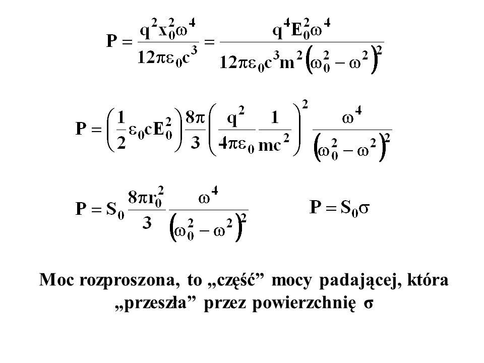 """Moc rozproszona, to """"część mocy padającej, która """"przeszła przez powierzchnię σ"""