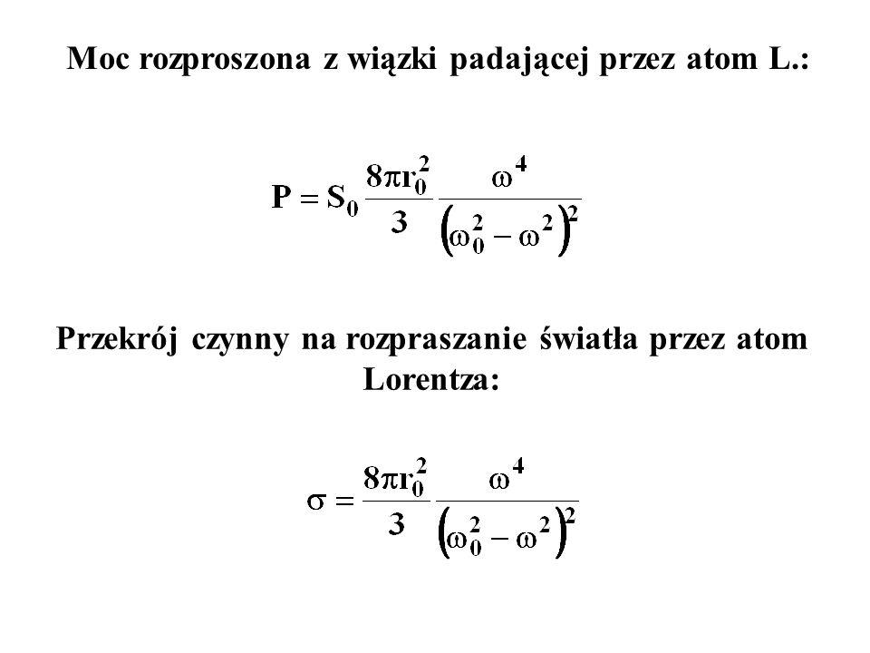 Moc rozproszona z wiązki padającej przez atom L.: