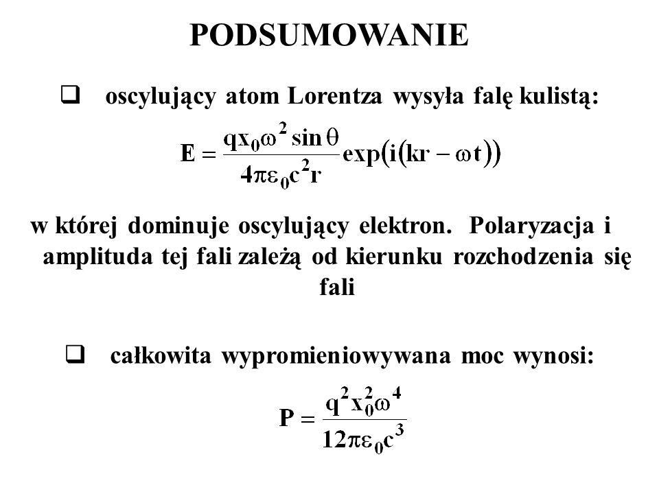 PODSUMOWANIE oscylujący atom Lorentza wysyła falę kulistą: